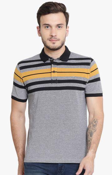 Crimsoune Club | Grey Striped Polo T-Shirt