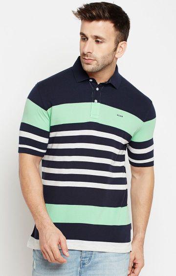 Crimsoune Club | Navy Striped Polo T-Shirt