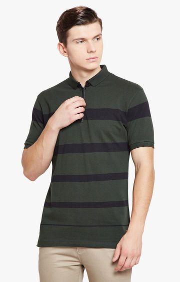 Crimsoune Club | Green Striped Polo T-Shirt