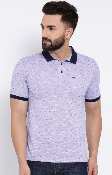 Crimsoune Club | Purple Printed Polo T-Shirt