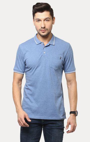 Crimsoune Club | Blue Melange Polo T-Shirt