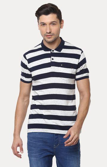 Crimsoune Club | White and Navy Striped Polo T-Shirt