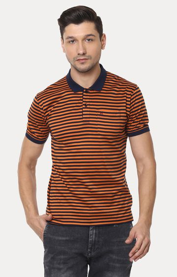 Crimsoune Club | Orange and Navy Striped Polo T-Shirt