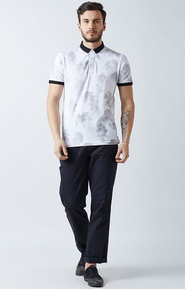Crimsoune Club | White and Grey Floral Polo T-Shirt
