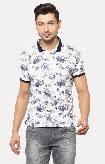 Crimsoune Club | White and Navy Printed Polo T-Shirt
