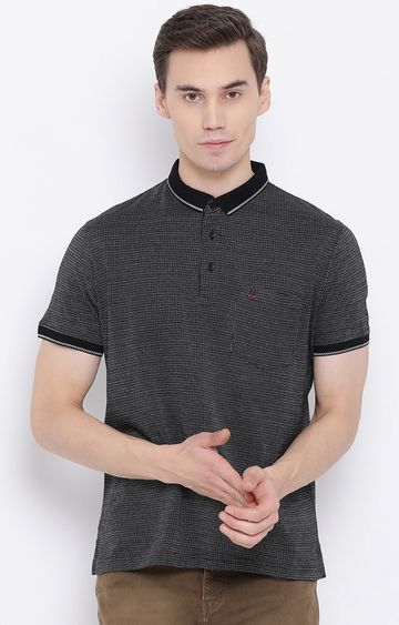 Crimsoune Club | Navy Checked Polo T-Shirt