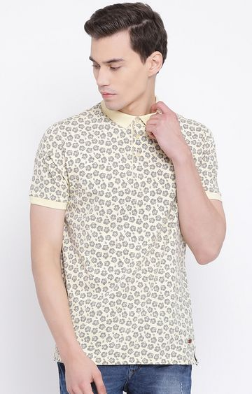 Crimsoune Club | Yellow Printed Polo T-Shirt