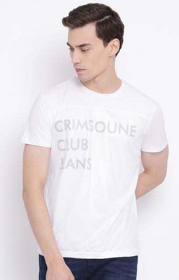Crimsoune Club | White Printed T-Shirt