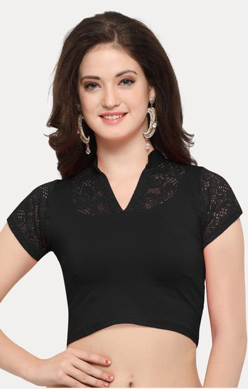 Janasya | Black Solid Blouse