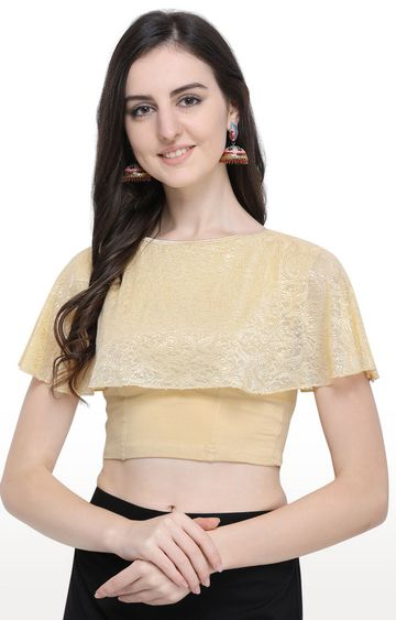 Janasya | Beige Printed Cotton Lycra Stitch Blouse