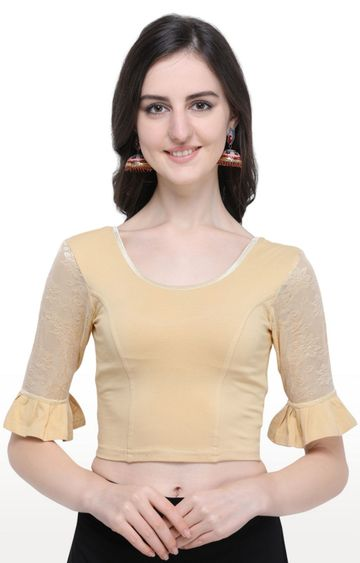 Janasya | Beige Solid Cotton Lycra Stitch Blouse