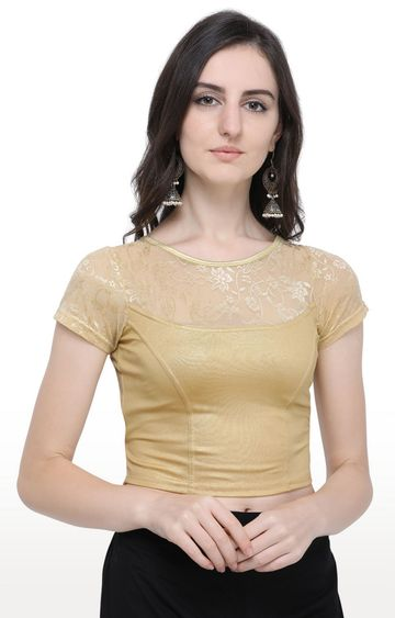 Janasya | Gold Printed Cotton Lycra Stitch Blouse