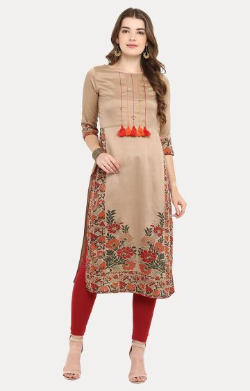 Janasya | Light Brown Printed Kurta