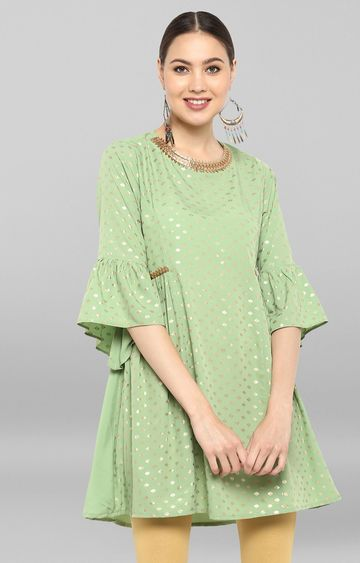 Janasya | Light Green Printed Regular Kurti