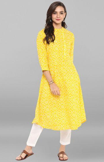 Janasya | Yellow Printed Pant and Kurta