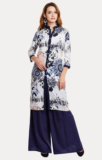 Fabnest | White and Blue Printed Kurta
