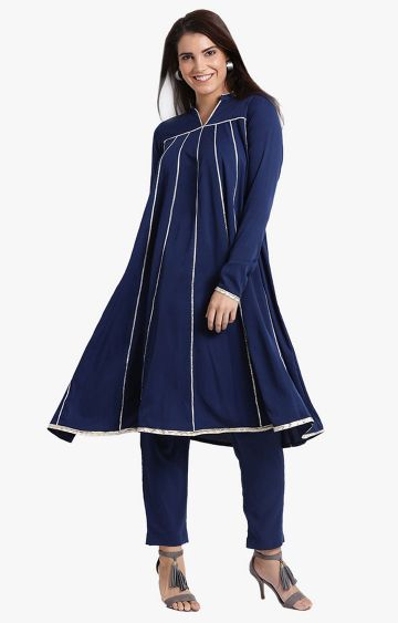 Fabnest | Navy Blue Striped Pants and Kurta