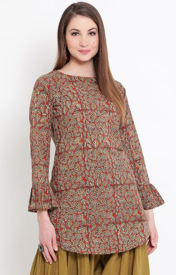 Fabnest | Brown Printed Regular Kurti