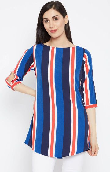 Fabnest | Navy Blue Striped Tunic