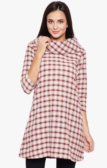 Fabnest | Cream and Maroon Checked Tunic