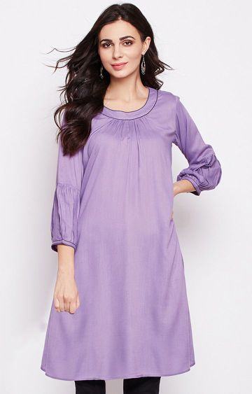 Fabnest | Purple Solid Tunic