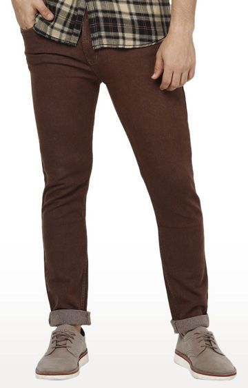 Urbano Fashion | Brown Solid Tapered Jeans