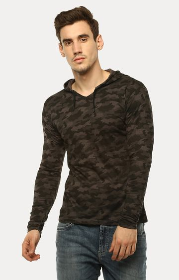Urbano Fashion | Brown Printed Hoodie