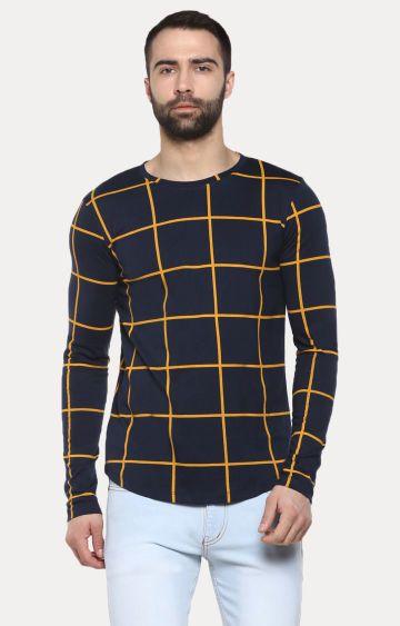 Urbano Fashion   Navy Checked T-Shirt