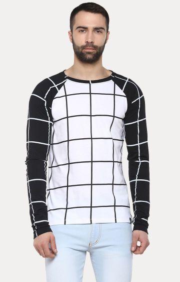 Urbano Fashion   White and Black Checked T-Shirt