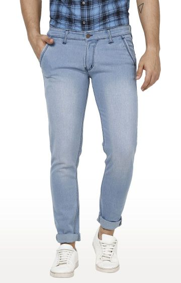 Urbano Fashion | Light Blue Solid Tapered Jeans