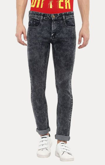 Urbano Fashion | Dark Grey Solid Straight Jeans
