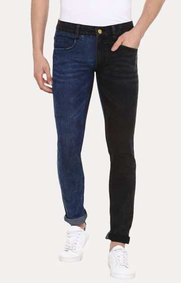 Urbano Fashion | Blue and Black Colourblock Straight Jeans