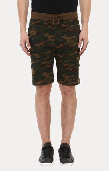 Urbano Fashion | Green and Brown Printed Shorts