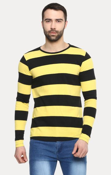 Urbano Fashion | Yellow and Black Striped T-Shirt