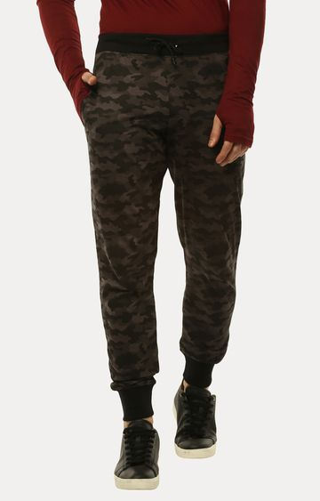Urbano Fashion | Brown Printed Casual Joggers