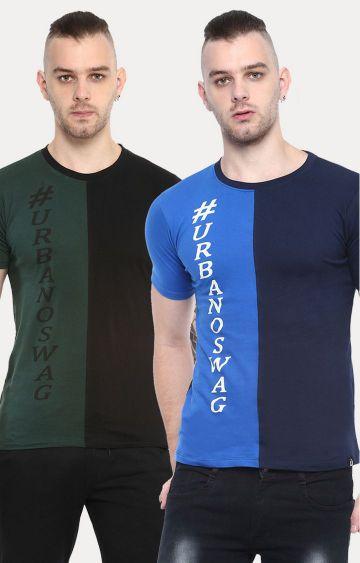 Urbano Fashion | Green & Blue Printed T-Shirt - Pack Of 2