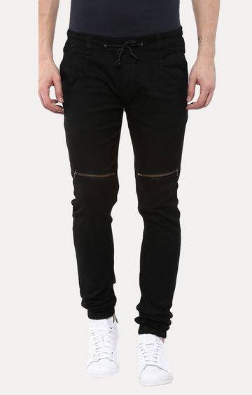 Urbano Fashion | Black Solid Casual Joggers