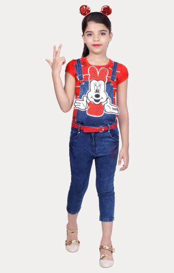 KBKIDSWEAR | Red and Blue Printed Top and Dungaree Set
