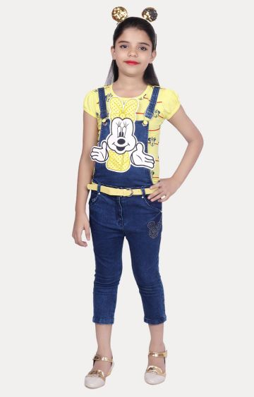 KBKIDSWEAR | Yellow and Blue Printed Top and Dungaree Set