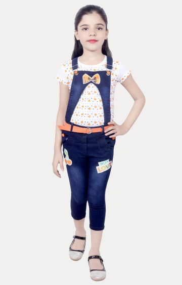 KBKIDSWEAR | Orange and Blue Printed Top and Dungaree Set