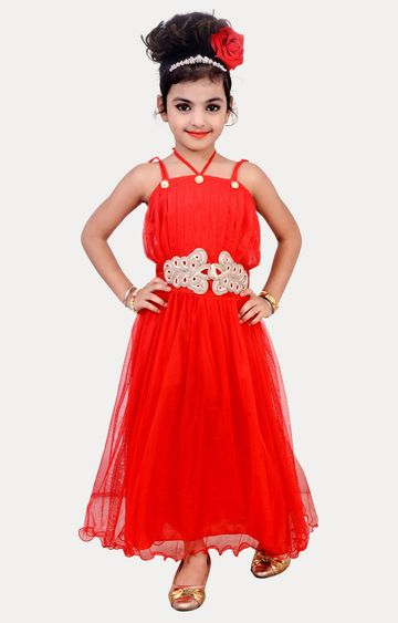 KBKIDSWEAR | Red Solid Dress