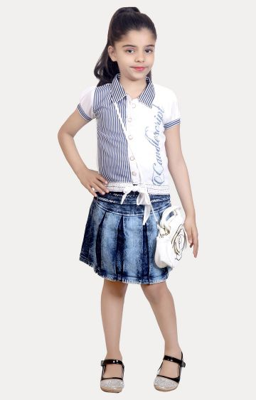 KBKIDSWEAR | White and Blue Striped Top and Skirt Set