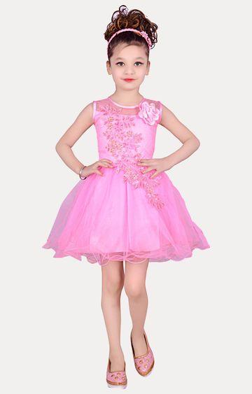 KBKIDSWEAR | Pink Round Neck Party Wear Frock