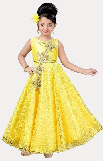 KBKIDSWEAR | Yellow Printed Gown