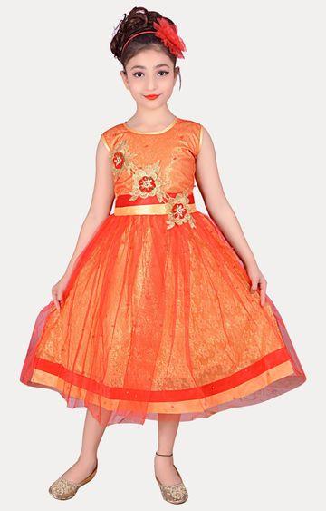 KBKIDSWEAR | Orange Full Length Party Wear Gown