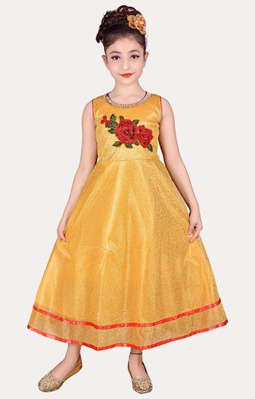 KBKIDSWEAR | Gold Full Length Party Wear Gown