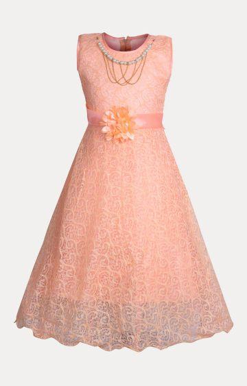 KBKIDSWEAR | Peach Solid Dress