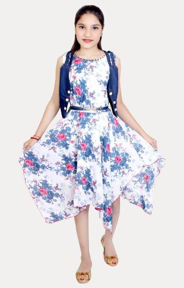 KBKIDSWEAR | White and Blue Printed Dress with Jacket