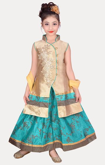 KBKIDSWEAR | Green Full Length Party Wear Lehenga Choli With Dupatta Set