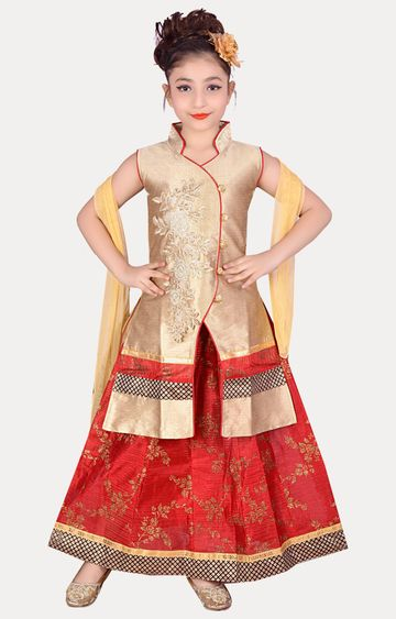 KBKIDSWEAR | Red Full Length Party Wear Lehenga Choli With Dupatta Set